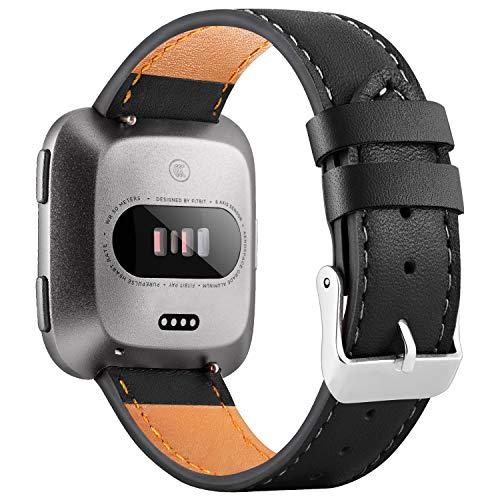 WASPO für Fitbit Versa Armband, Elegantes Echtes Lederarmband mit Schnellverschluss Pin Kompatibel mit Fitbit Versa 2/ Fitbit Versa/Fitbit Versa Lite Edition, Klein Groß Damen Herren (Schwarz, L)