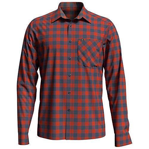 Odlo Herren Mythen Langarm-Hemd, Mandarin red-China Blue-Check, XXL