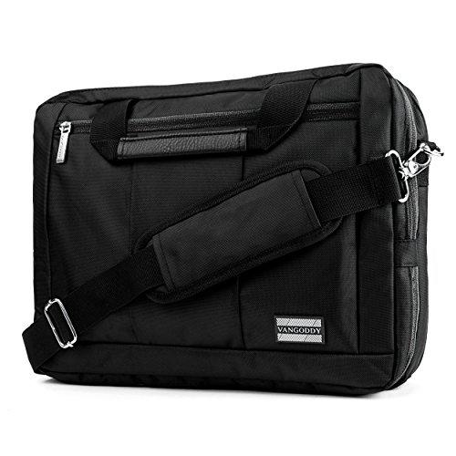 VanGoddy El Prado 3-in-1 Messenger + Backpack + Briefcase Transformer for 13 to 14 inch Laptops and Tablets - Black