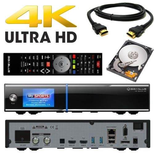 GigaBlue UHD Quad 4K 2X FBC DVB-S2 Tuner 1x Dual DVB-S2X Tuner Ultra HD E2 Linux Receiver inkl. 2000 GB Festplatte