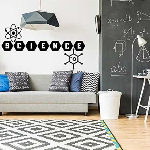 Zdklfm69 Pegatinas de Pared Adhesivos Pared Ciencia Creativa átomo molécula calcomanía Ciencia hogar Dormitorio decoración 57x20cm