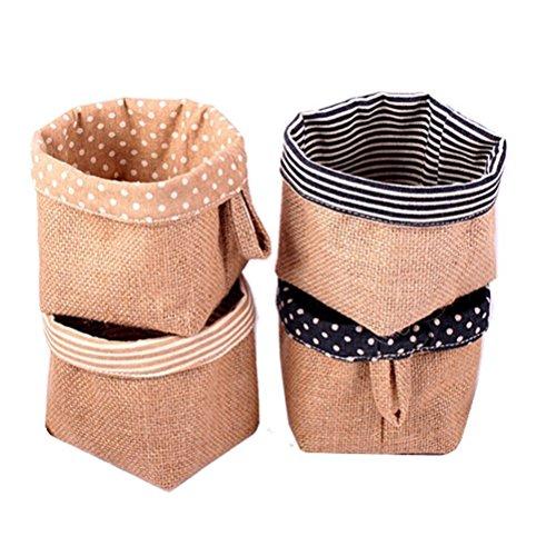 Margueras Mini-Korb / Aufbewahrungstasche aus Jute, 4-teiliges Set