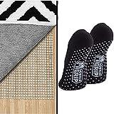 Gorilla Grip Rug Pad and Yoga Socks, 1 Pair, Rug Pad Size 3x5, for Hard Floors, Yoga Socks Have Slip Resistant Silicone Grip Bottoms, in Black Color, 2 Item Bundle