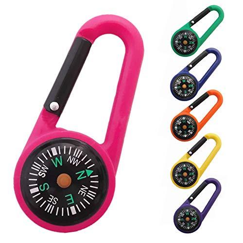 DYL & CDAI 12 Karabijnhaak kompas, een thermometer met hoge precisie kompas sleutelhangers lus voor reizen uitstapjes (willekeurige kleur)