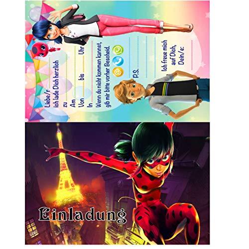 TV-24 Miraculous Ladybug Einladungskarten 12er Set inkl. 12 Umschläge 9 D