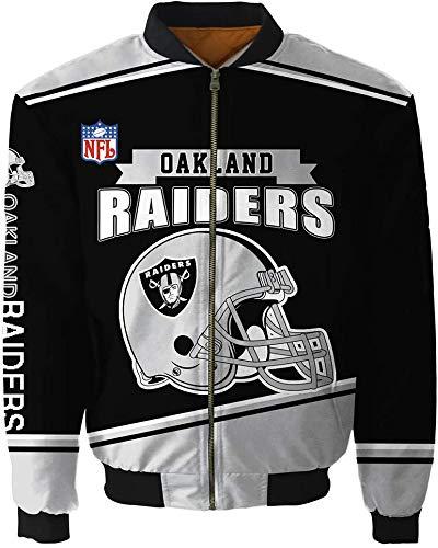 GGJC Handsome Jacken Große Bomberjacke Herbst Oberbekleidung Wintermäntel für Männer Frauen (Oakland Raiders,XXXXL)