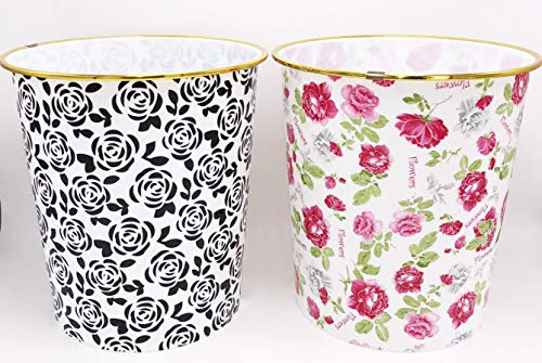 Daiso Japan- Cestino per rifiuti per casa, ufficio, scuola, 2,5 galloni, motivo a pois, 20,3 x 23,5 cm