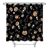 LB Halloween Duschvorhang Kürbis Skelett Katze Fledermaus schwarz Halloween Duschvorhang für Badezimmer mit Haken 183 x 182,9 cm wasserdichtes Polyestergewebe