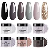 Beetles Acrylic Powder Nail Kit, 6 Colors Coffee Collection Brown Grey Glitter Acrylic Nails Professional Acrylic Powder Set Nail Art Manicure DIY Home Gifts for Women