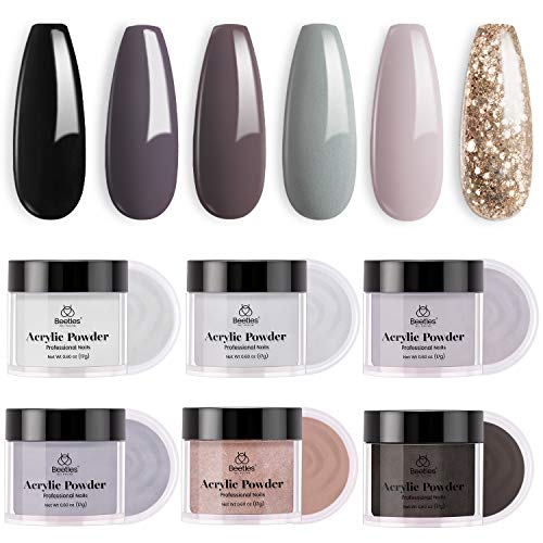 Acrylic Powder Nail Kit, Beetles Gel Polish 6 Colors Coffee Collection Brown Grey Glitter Acrylic Nails Professional Acrylic Powder Set Nail Art Manicure DIY Home Gifts for Women