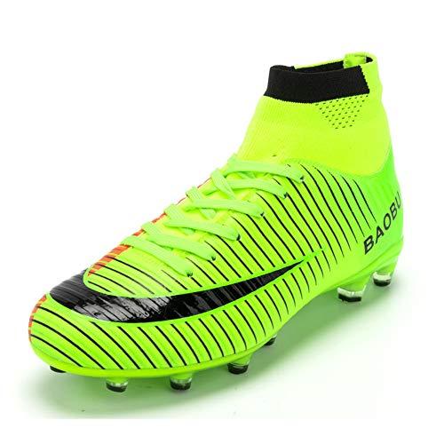 Scarpe da Calcio da Uomo Sportive Leggere Scarpe da Esterno Scarpe da Calcio Scarpe da Calcio Alte Scarpe da Calcio (EU 37, Green)