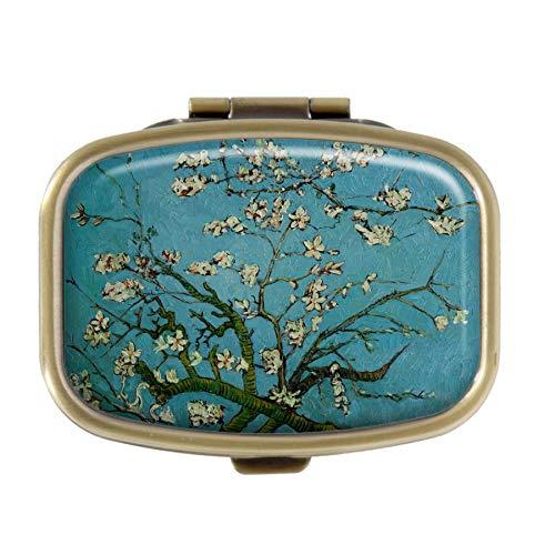 Qcc Van Gogh Medikamentendosierer, Mandelblüten, Bronzefarben, rechteckig, für Tasche oder Geldbörse