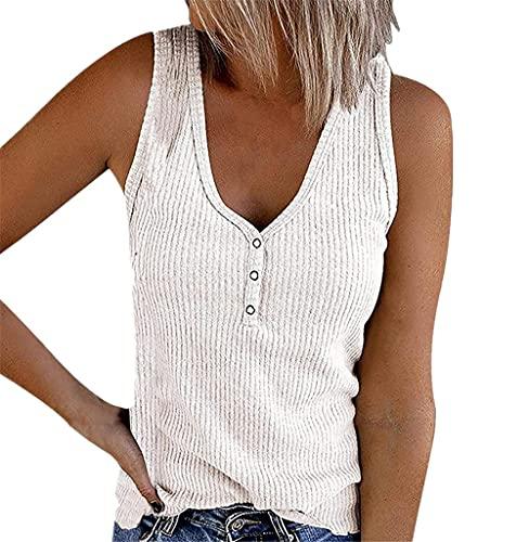 Camiseta Sin Mangas Mujer Verano Sexy Elegante Top Sin Mangas Moda Playa Vacaciones Ocio Suelto Cómodo Color Puro Clásico Mujeres Top Mujer Camisa F-White 3XL