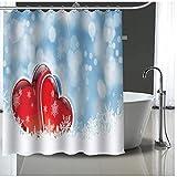 DJY-JY Cortina de ducha extra larga, respetuosa con el medio ambiente, 3D, con corazón, color rojo, resistente al moho, con 12 ganchos, 180 x 180 cm