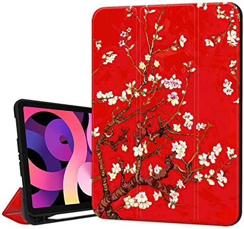 Hepix Apricot Flower iPad 10 9 inch Air 4th Generation Case with Pencil Holder 2020 Red Painting product image