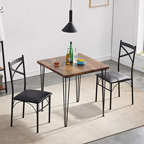 VECELO Modern Industrial Style 3-Piece Dining Room Kitchen Table and Pu Cushion Chair Sets for Small Space, Retro Brown