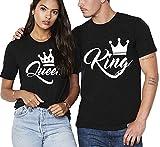 Partner Pärchen King & Queen - Juego de camiseta para hombre y mujer Color negro. M