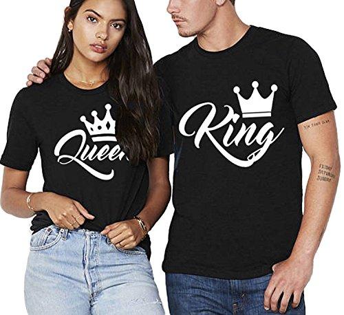 Partner Pärchen King & Queen T-Shirt - Damen T-Shirt Schwarz Gr. L