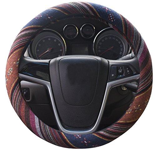 Mayco Bell 2018 Ethnischen Stil Grob Flachs Tuch Automotive Lenkradbezug Anti Slip und Schweißabsorption Auto Auto Wrap Abdeckung (F)