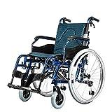 JINBAO Silla De Ruedas Ortopédica Plegable Reposapiés Y Reposabrazos Móviles De Aluminio Asiento Azul 45 Cm Ultraligero