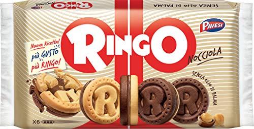 Pavesi Ringo Biscotti Farciti con Crema Nocciola e Cioccolato per Colazione o Gustoso Snack, Senza Olio di Palma, Formato Famiglia - Confezione da 6 X 51,7g