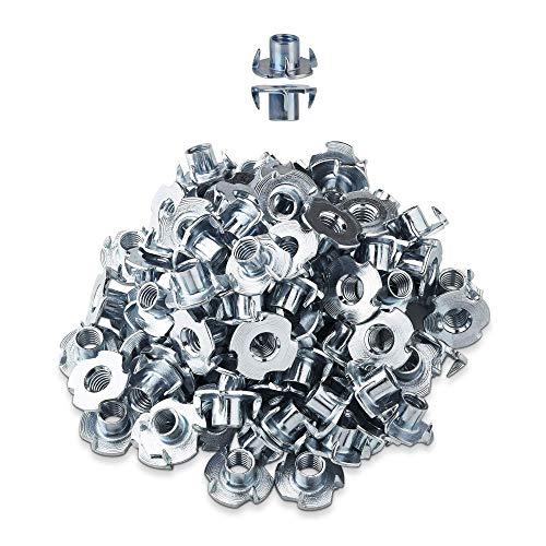LIKERAINY Tuercas M8 x 12mm con 4 Dientes Metal T-Nuts Tuercas de Fijación para Muebles de Madera Insertos Ciegos Tuerca 150Pcs