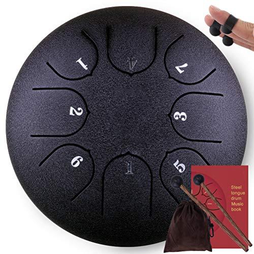 Steel Tong Drum, 8 Opmerkingen 6 Inch Pan Drum Percussie Staal Drum Instrument, met Mallets, Vingerhoes, Mallet Bracket, Tonic Sticker en Travel Bag, voor Meditatie Yoga Zazen Sound Healing Zwart