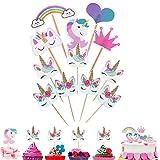 96 decoraciones de unicornio para cupcakes con forma de corazón arcoíris para decoración de tartas de fiesta temática de cumpleaños