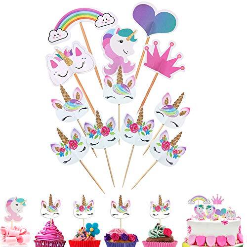 96 Stücke Einhorn Tasse Kuchen Toppers Regenbogen Herz Krone Kuchen Topper Picks für Kinder Geburtstag Party Kuchen Dekoration