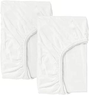 Ikea Len - Drap Housse pour lit bébé, Blanc Paquet / 2-60x120 cm