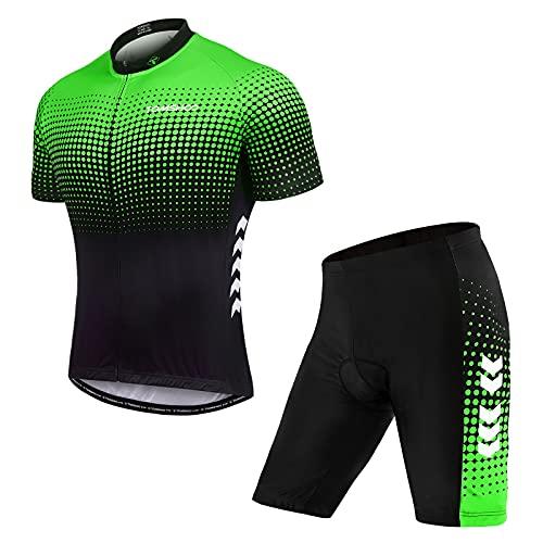 TOM SHOO Abbigliamento Ciclismo, Completo Ciclismo Uomo, Set di Maglie da Ciclismo Primaverili ed Estive, Pantaloni da Ciclismo con Cuscini Imbottiti 4D