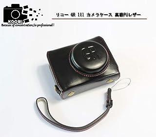 RICOH リコー PEN GR DIGITAL III GR3 カメラケース カメラカバー カメラバッグ カメラホルダー、【KOOWL】手作りのレザーカメラフルケース、付属品:ハンドストラップ、スタイリッシュ、コンパクト、防水、防振 (ブラック)