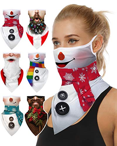 Multi-Pack Face Bandana with Ear Loops Neck Gaiter Face Scarf/Neck Cover/Face Cover for Men Women and Teens (Christmas Series, 6)