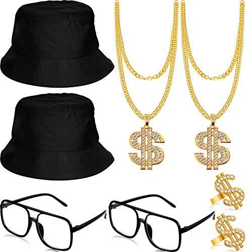 Conjunto de Accesorios de Disfraz de Rapero Hip Hop Sombrero de Cubo...