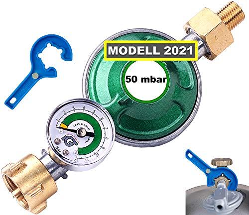 CAGO Gasregler 50 mbar mit Manometer Gas Füllstandsanzeige Schlauchbruchsicherung Propangas Druckminderer Druckregler Camping Propan Butan Gasflasche Gasregler-Schlüssel mit Magnet