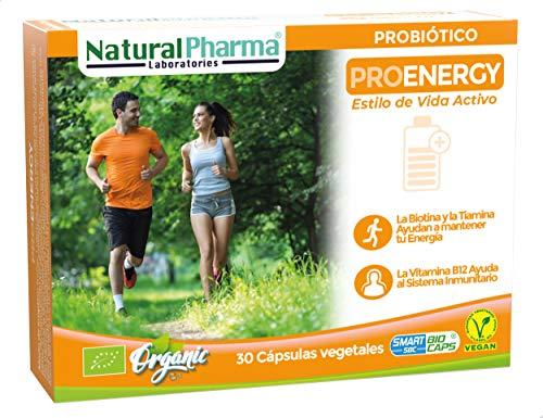 Natural Pharma Labs. Probiótico Ecológico ProEnergy. Aporte de Energía Extra. Vitamina B1 + Vitamina B12 + Biotina. Cápsulas Smart BioCaps®. Sin Gluten, Sin Lactosa, Vegano.