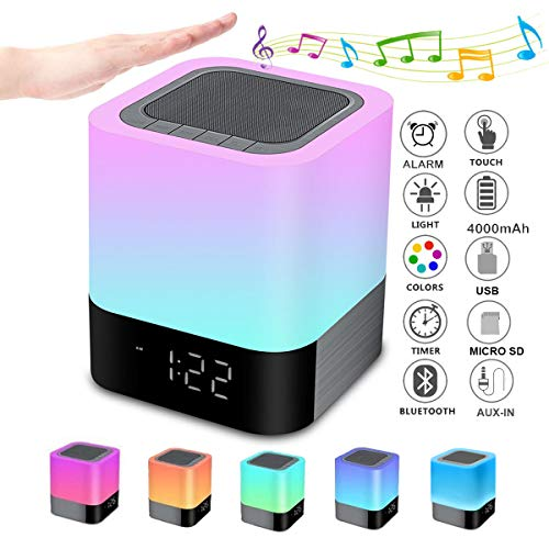 Bluetooth Speaker Night Lights, Alarm Clock Bluetooth Speaker MP3...