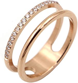 IFUAQZ Women's Stainless Steel Cubic Zirconia Ring Knuckle Midi Stacking Double Lines Eternity Bands