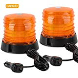 ASPL 2pcs LED Warning Flash Beacon Lights, 60 LED Amber Warning Safety Flashing Strobe Lights with Magnetic and 16 ft Straight Cord for Vehicle Truck Tractor Golf Carts UTV Car Bus,12V-24V