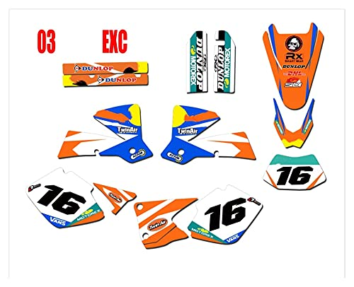 MingWang Pełny zestaw zestawów naklejek Darmowe niestandardowe numery i nazwy EXC 2003. Naklejki graficzne. DOPASOWANIE DO EXC 125 200 250 300 400 450 525 2003 (Color : R)
