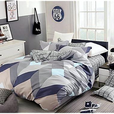 Minimal Style Geometric Shapes Duvet Quilt Cover Modern Scandinavian Design Bedding Set 100-percent Cotton Soft Casual Reversible Block Print Triangle Pattern (Queen, Mauve Sky)