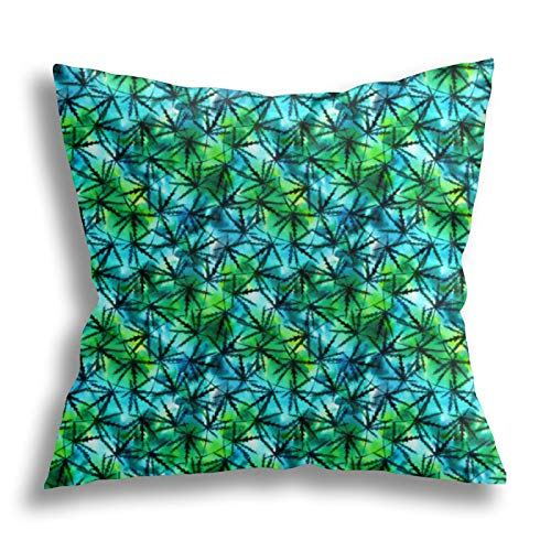 QTYVI Cannabis Leaves Watercolor Pattern Kissenbezug Baumwolle Home Decor Kissenbezug Quadratische dekorative Kissen...