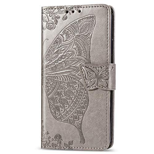 JIUNINE Hülle für Xiaomi Poco F2 Pro, Handyhülle Leder Flip Hülle mit Schmetterling Muster [Kartenfach] [Magnetverschluss] Schutzhülle Tasche Cover Lederhülle für Xiaomi Poco F2 Pro, Grau