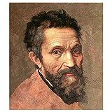 Legendarte - Cuadro Lienzo, Impresión Digital - Retrato De Miguel Ángel De Daniele De Volterra - Michelangelo Buonarroti - Decoración Pared cm. 50x60