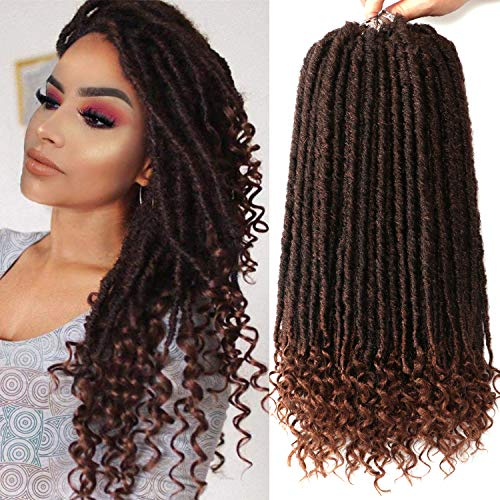 7 Packs Faux Locs Crochet Hair With Curly Ends 16 Inch Dreadlocs Goddess Locs Crochet Braids Synthetic Braiding Hair Extension (16 Inch, T30#)