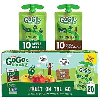 GoGo squeeZ Fruit on the Go Variety Pack Apple Apple & Apple Cinnamon 3.2 oz  20 Pouches  - Tasty Kids Applesauce Snacks - Gluten Free Snacks for Kids - Nut & Dairy Free - Vegan Snacks