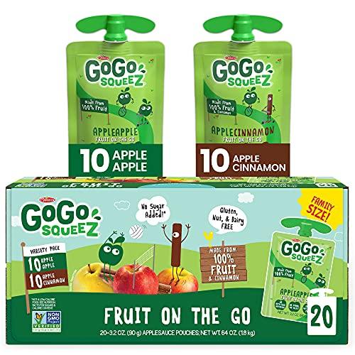 GoGo squeeZ Fruit on the Go Variety Pack, Apple Apple & Apple Cinnamon, 3.2 oz. (20 Pouches) - Tasty Kids Applesauce Snacks - Gluten Free Snacks for Kids - Nut & Dairy Free - Vegan Snacks