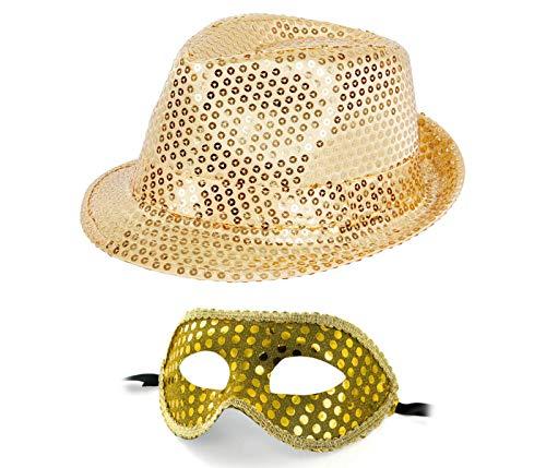 Alsino Pailletten Glitzerhut mit Venezianischer Maske Paillettenhut Gold Party Karneval Fasching Tanz Dance Tanzcrew Outfit Damen