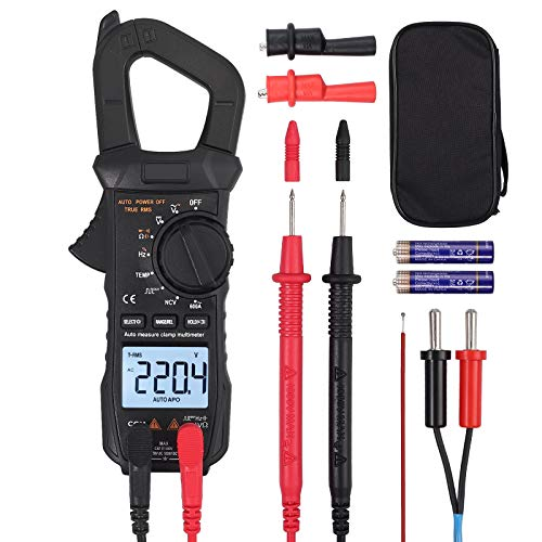 Digital Clamp Meter TRMS 600A AC Current AC/DC Voltage 6000 Counts NCV Continuity Capacitance Resistance Frequency Diode Hz Test Square Wave