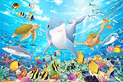 Ouriky 100 Pieces Puzzles for Kids Ages 4-8, Underwater Ocean World Jigsaw Puzzles Toys for Boys and Girls
